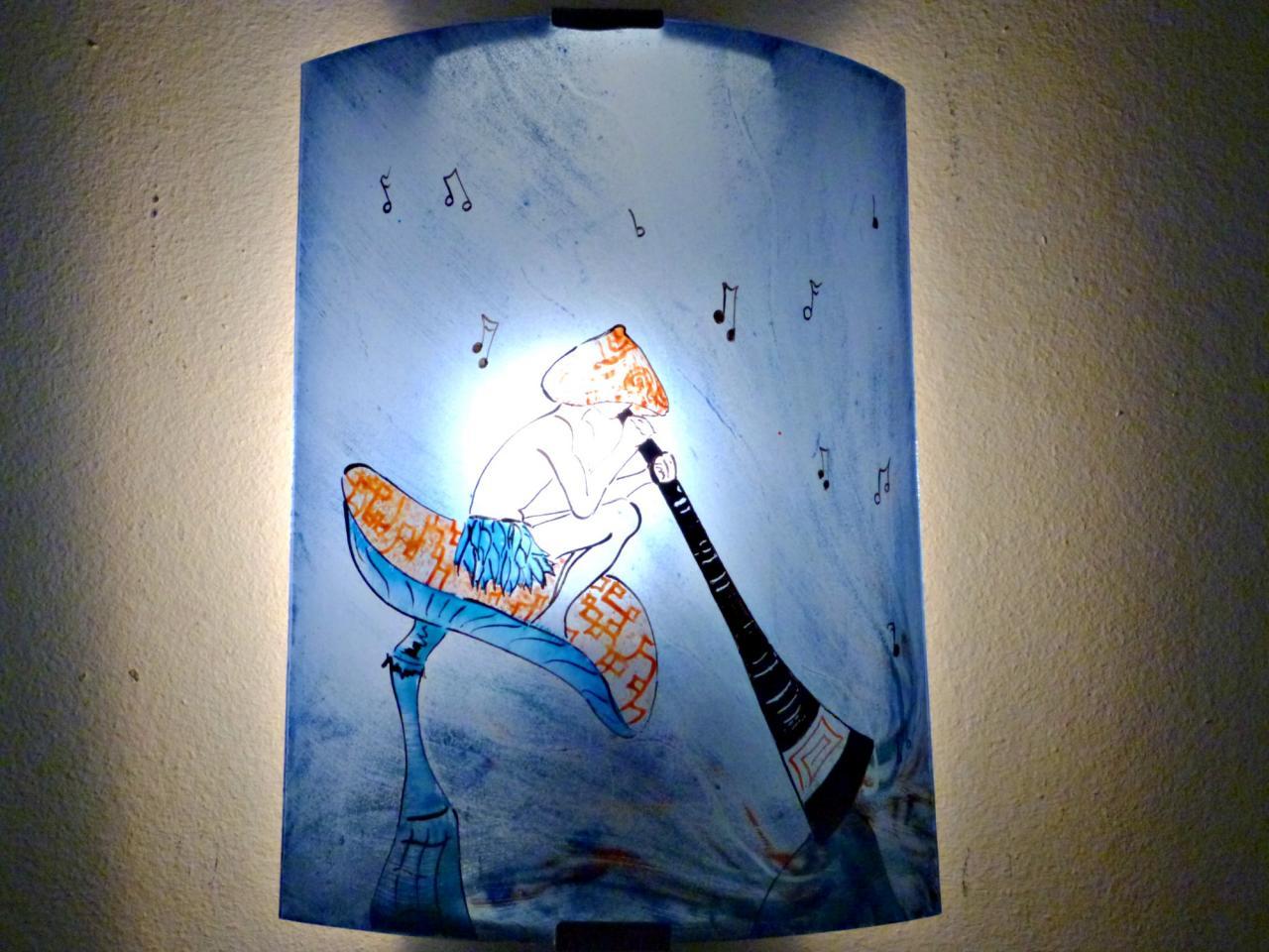 Applique murale bleu et orange le lutin au didjeridoo - Les appliques murales ...
