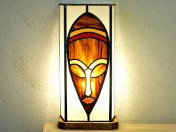 Lampe vitrail ethnique  masque