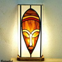 luminaire vitrail masque brun chamarré