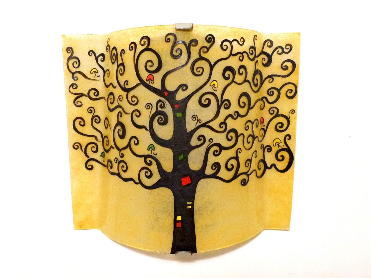 applique murale arbre de vie jaune moisson éteinte