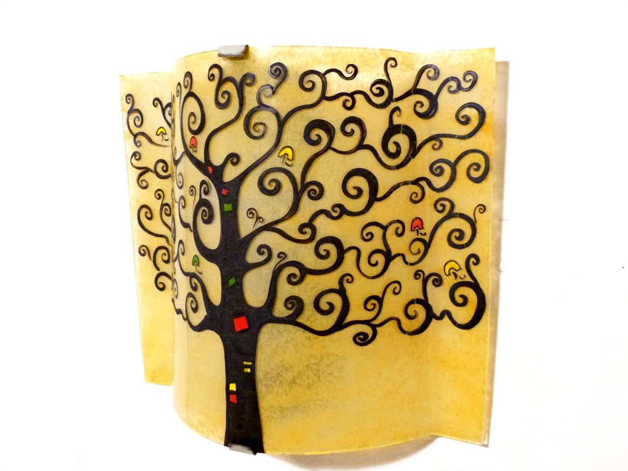applique murale arbre de vie jaune moisson vue de côté