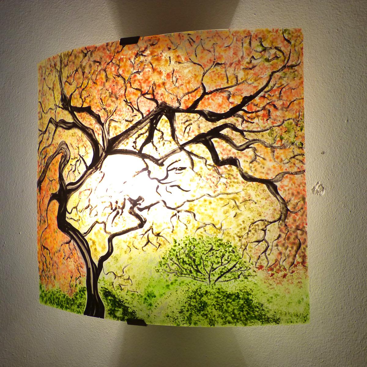 luminaire applique murale paysage arbre jaune orange et vert. Black Bedroom Furniture Sets. Home Design Ideas