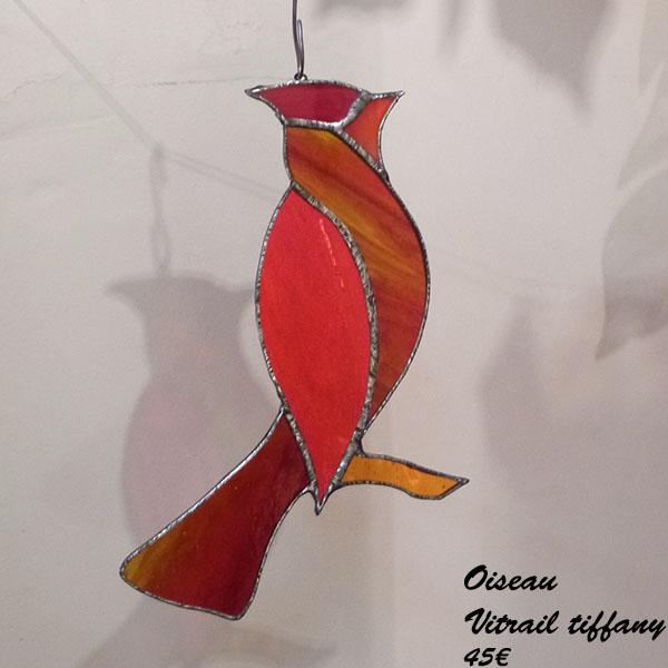 Oiseau rouge Vitrail tiffany