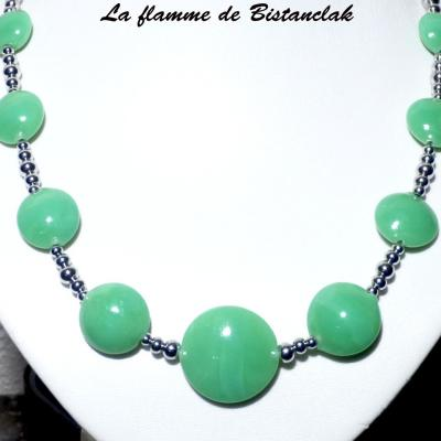 Collier perles lentille vert jade