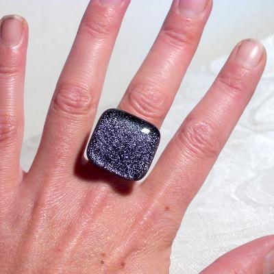 Bague dichroïque carré violette