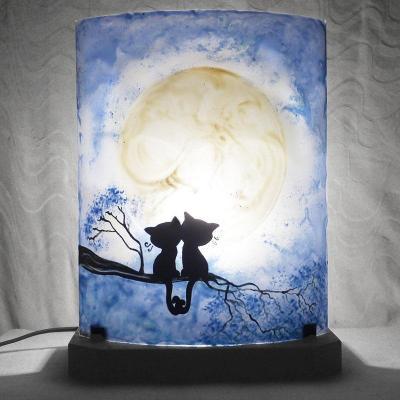 lampe sur commande bleu motif chats
