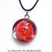 Pendentif cabochon rose rouge blanc en verre file par bistanclak