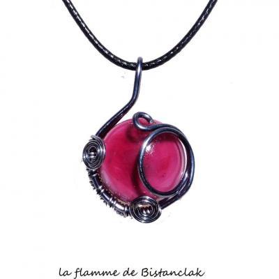 pendentif cabochon verre filé rose tressé argenté
