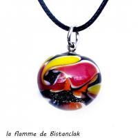 Perle de verre file multicolore jaune orange rouge