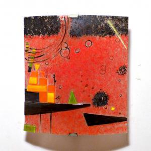 applique décorative rouge design géométrique vendue en ligne
