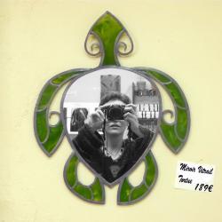 Miroir vitrail Tortue verte - Vitrail traditionnel