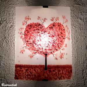 Vente en ligne applique artisanale blanche motif arbre coeur rouge