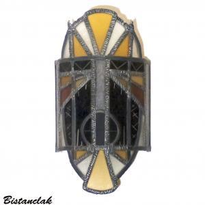 Vente en ligne applique vitrail masque jaune orange et noir