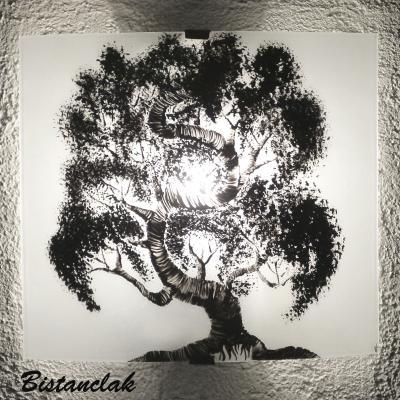 Applique lumineuse blanche au motif d'un bonsaï