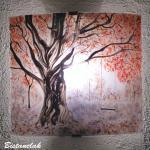 lampe applique rouge et mauve motif balancoire sous un arbre