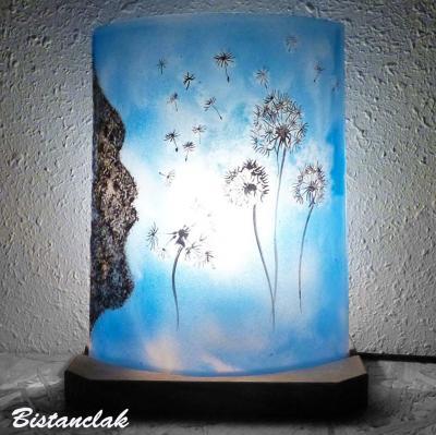Lampe d'ambiance bleu cyan motif L'envol du pissenlit
