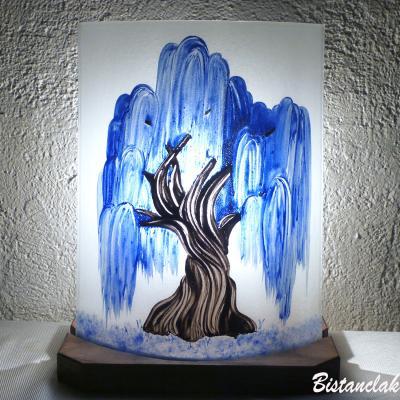 Lampe décorative blanche motif saule pleureur bleu cobalt