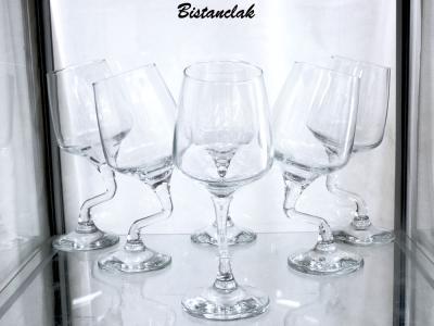 Service de six verres à pied tordu