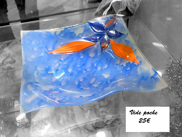 Vide poche en verre carré Fleur orange et bleu