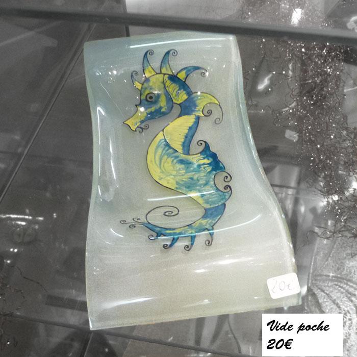 Vide poche allongé Hippocampe jaune et bleu