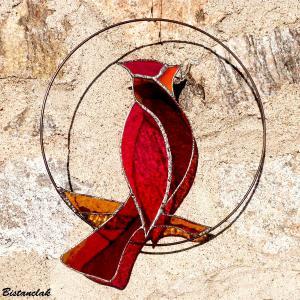 Vitrail oiseau cardinal rouge vendu en ligne